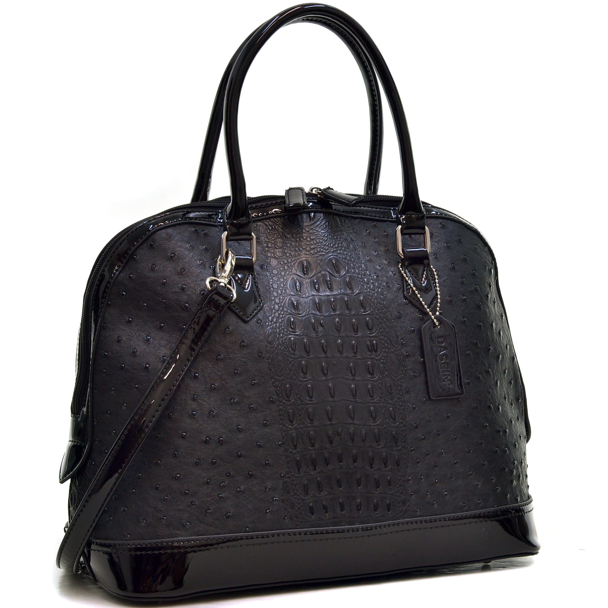Dasein Ostrich Faux Leather Dome Satchel with Patent Trim