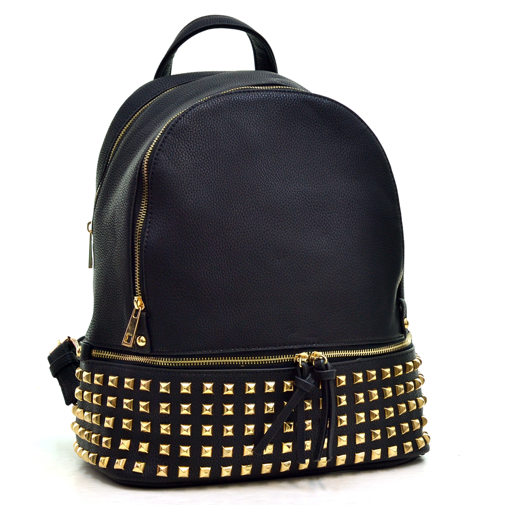 Dasein® Buffalo Leather Studded Backpack with Bottom Zipper Compartment