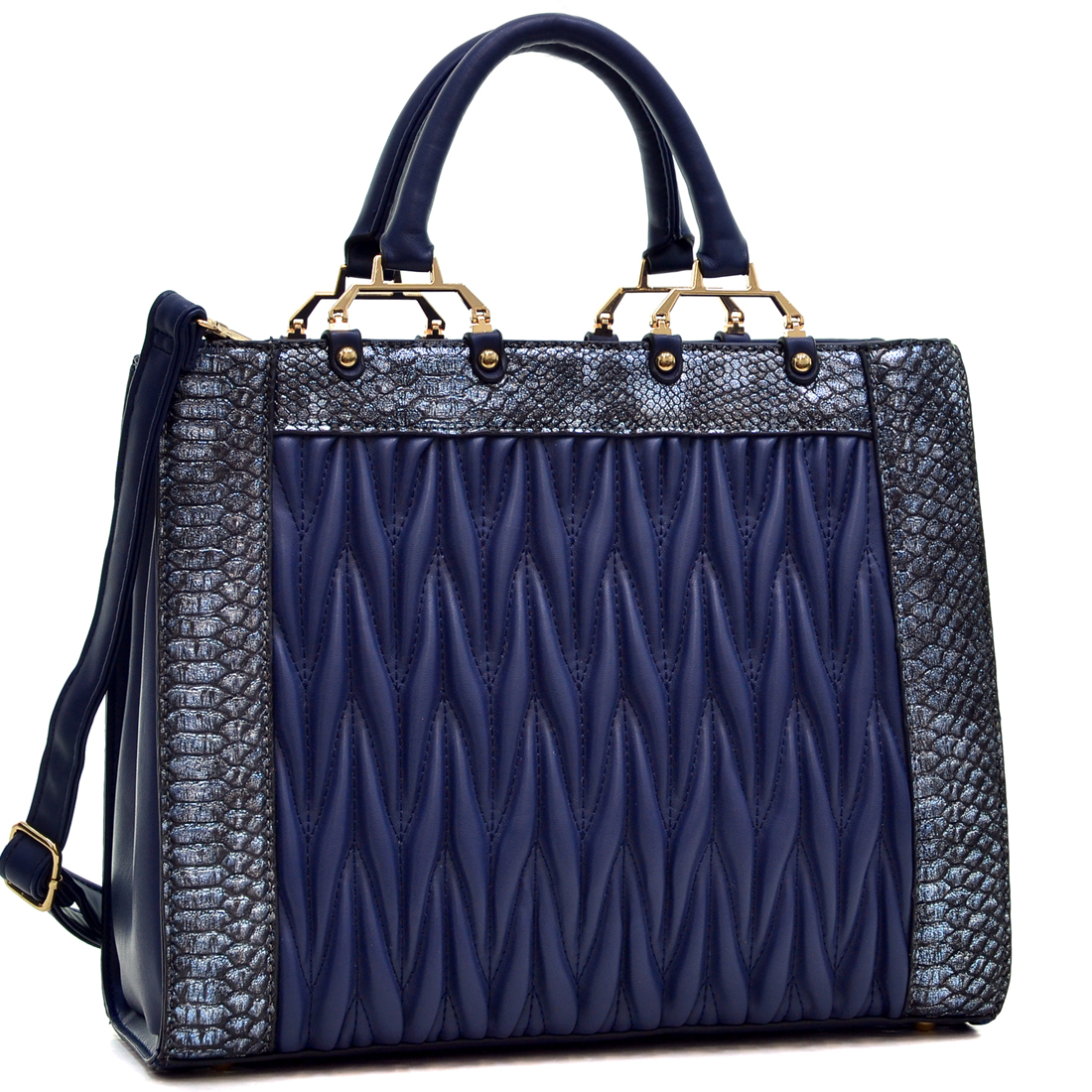 Dasein® Textured Leather with Croco Metallic Trim Tote