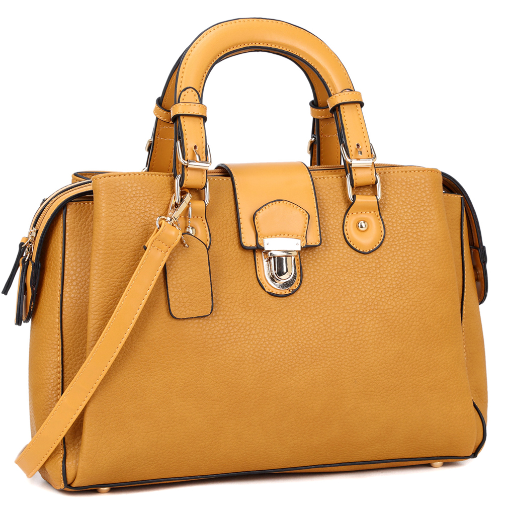 Dasein® 3-Compartment Satchel with Front Snap Lock Accent