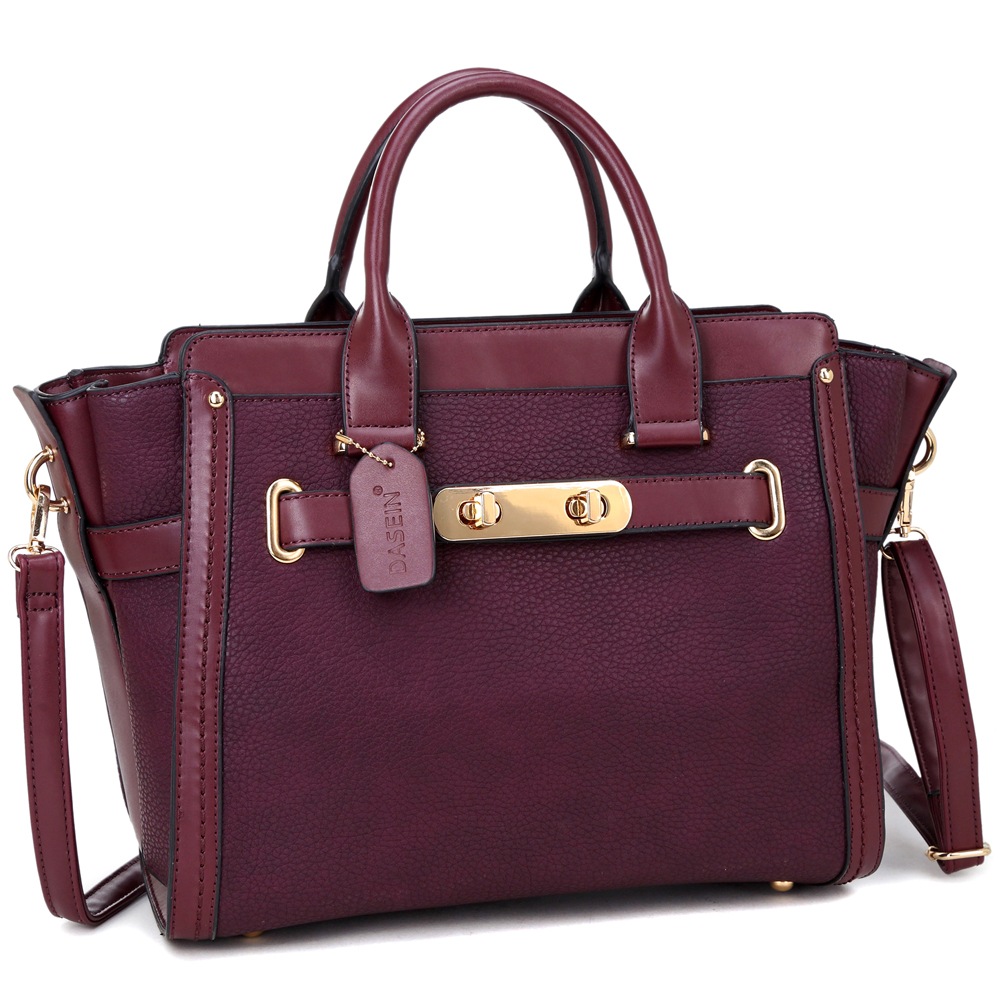 Dasein® Faux Leather Belted Medium Tote Bag
