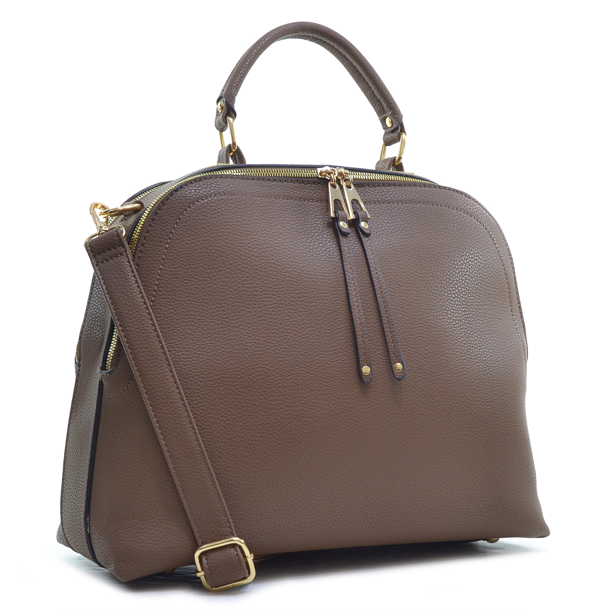 Buffalo Faux Leather Dome Satchel with Shoulder Strap