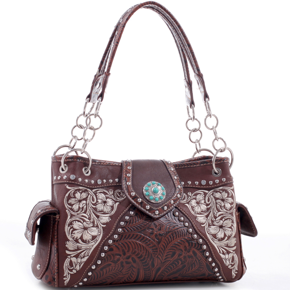 Realtree® Floral Embroidered Leather Western Studded Bag