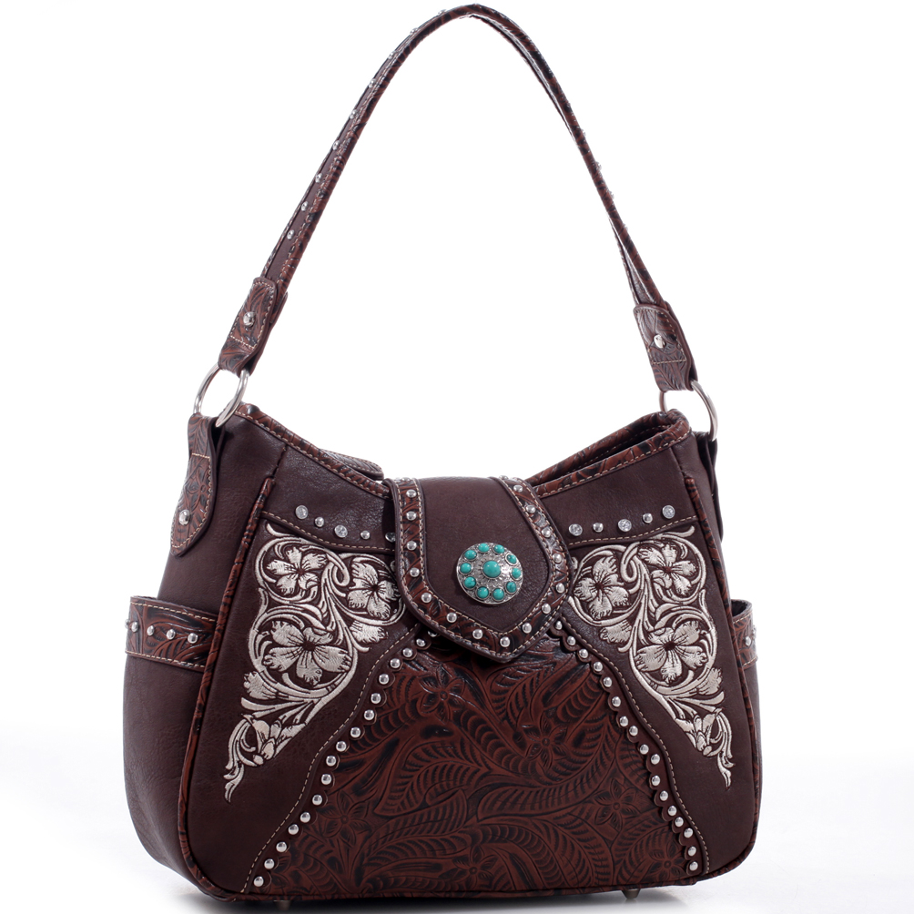Realtree® Leather Studded Floral Embroidered Hobo Bag