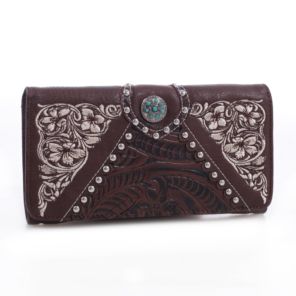 Realtree® Tooled Leather Tri-fold Wallet with Turquoise Concho