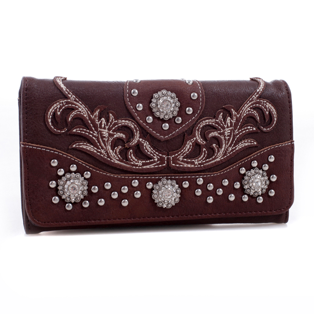 Realtree® Leather Embroidered Tri-fold Wallet with Rhinestone Conchos