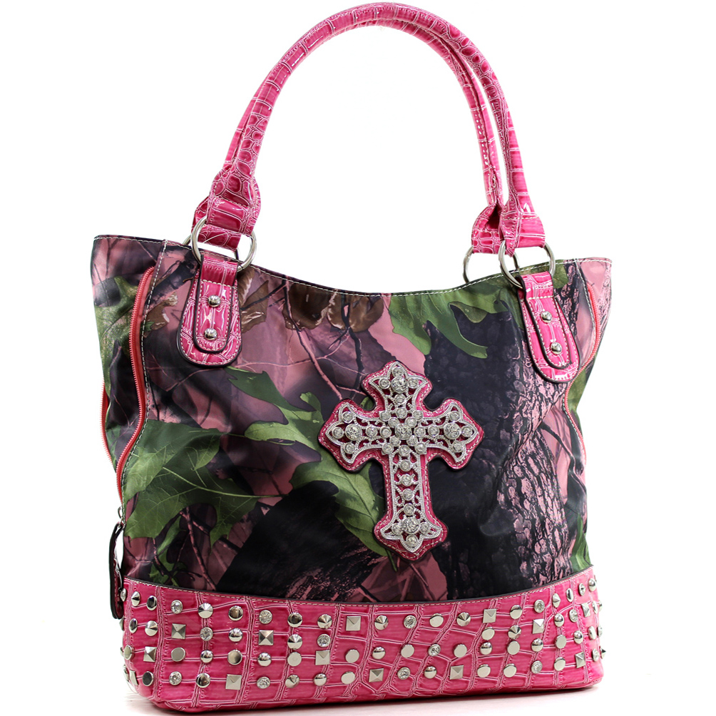 Nylon Studded Patent Camo Cross Tote with Patent Leather Trim