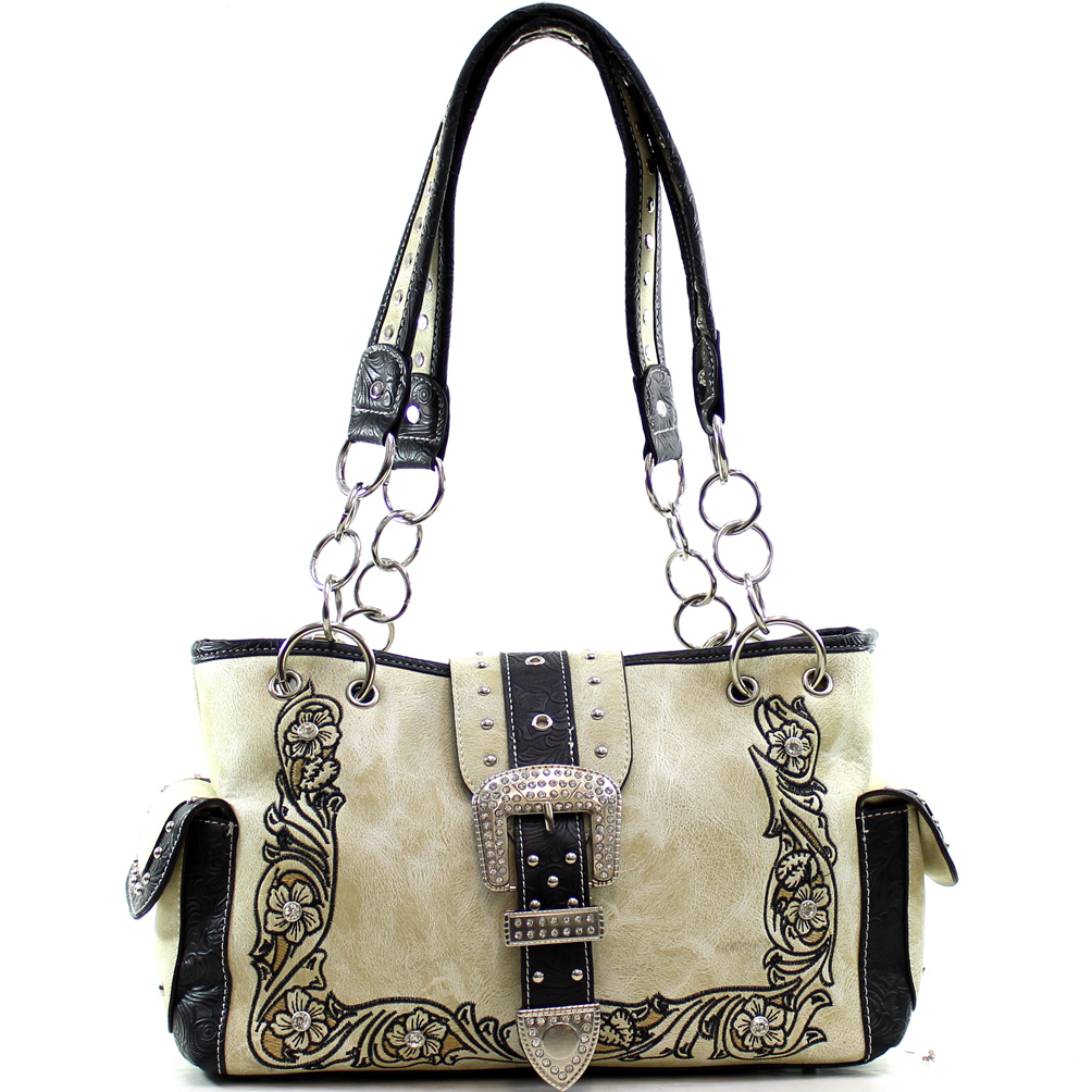 Floral Embroidered & Western Stitched Rhinestone Buckle Bag