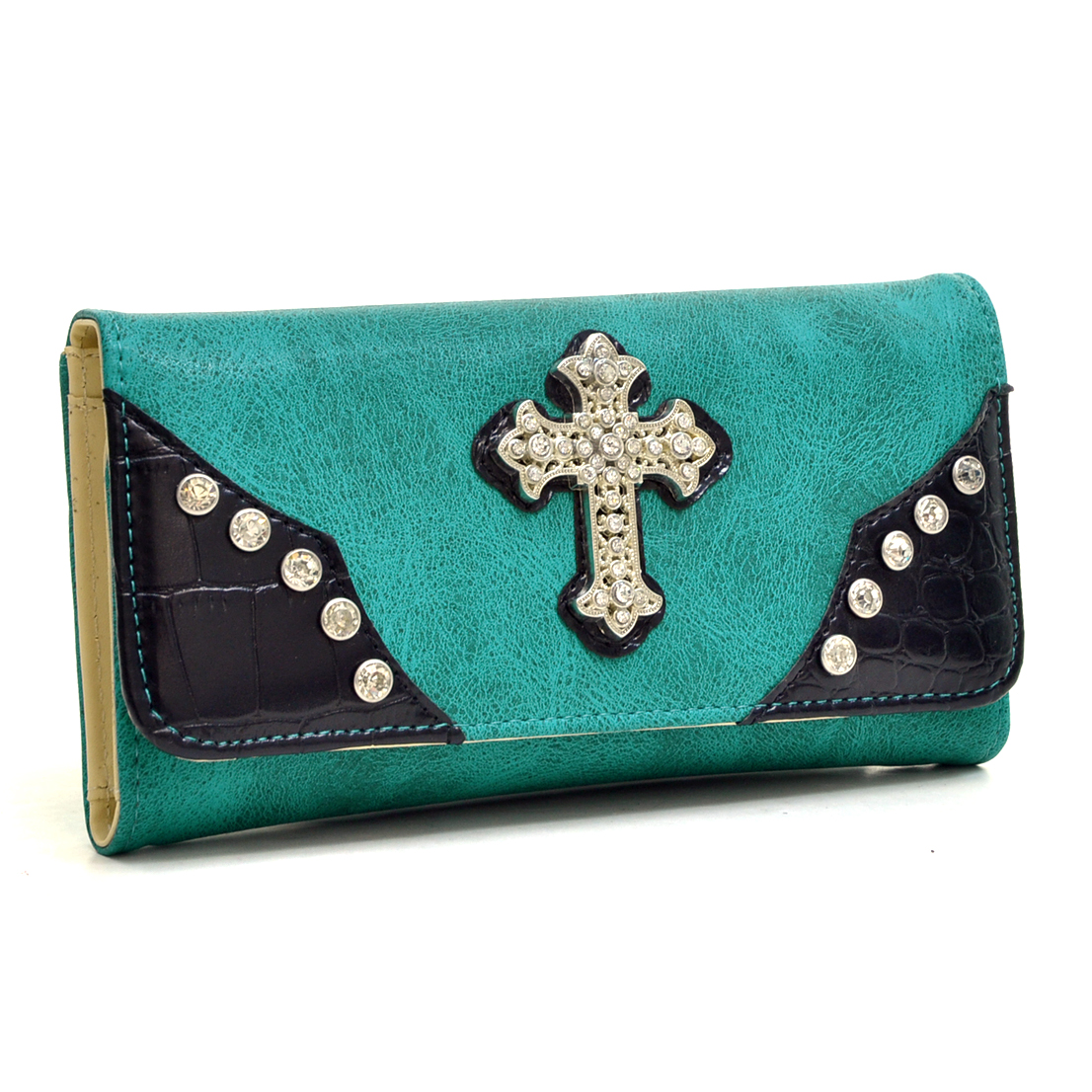 Faux Leather Rhinestone Studded Cross Tri-fold Wallet