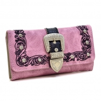 Rhinestone Studded Buckle with Floral Embroidery Western Wallet