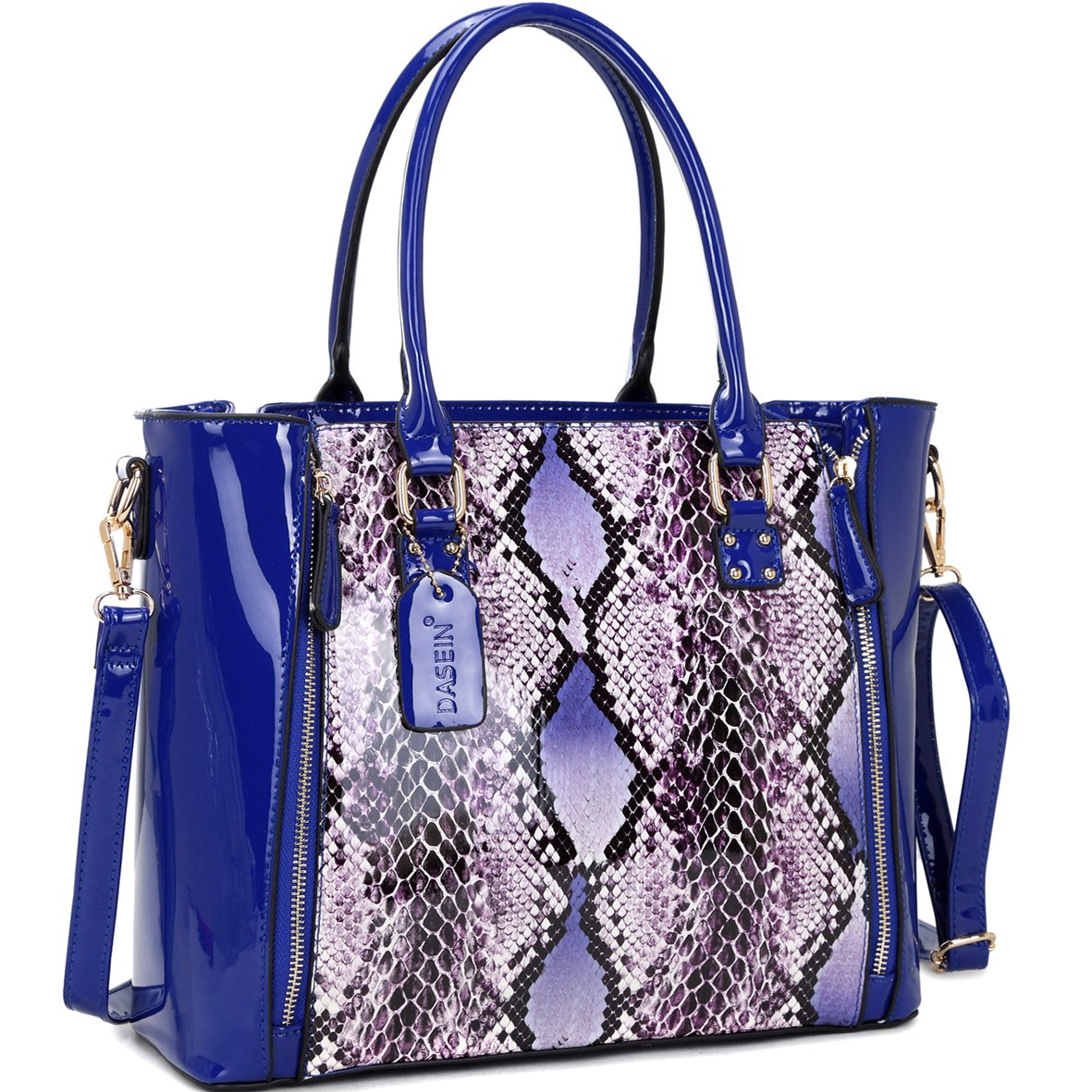 Dasein® Patent Leather Zipper Sides with Snakeskin Detail Satchel