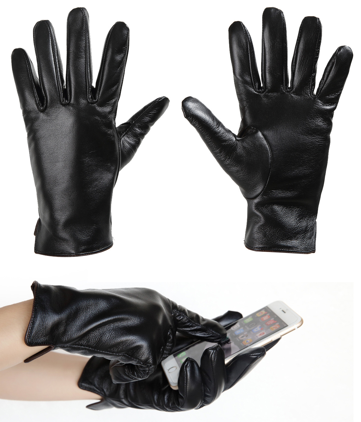 Dasein Men's Winter Warm Fleece Lined Italian Genuine Leather Lambskin Gloves For Working Driving Riding Cycling Skiing