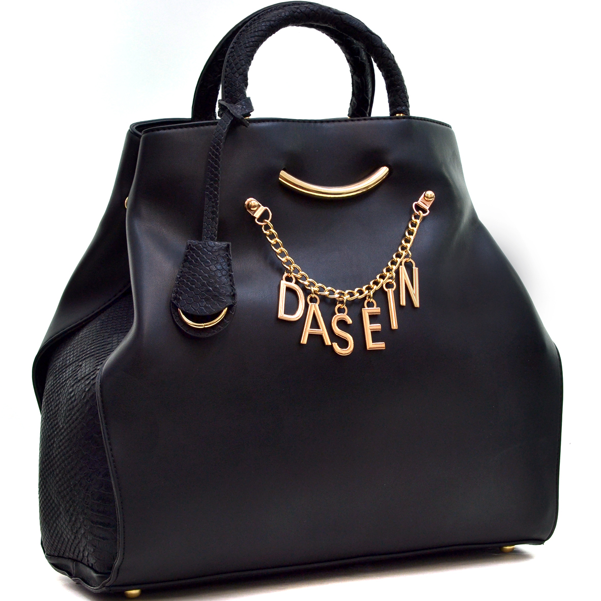 Dasein® Charm Tote Bag with Embossed Trim