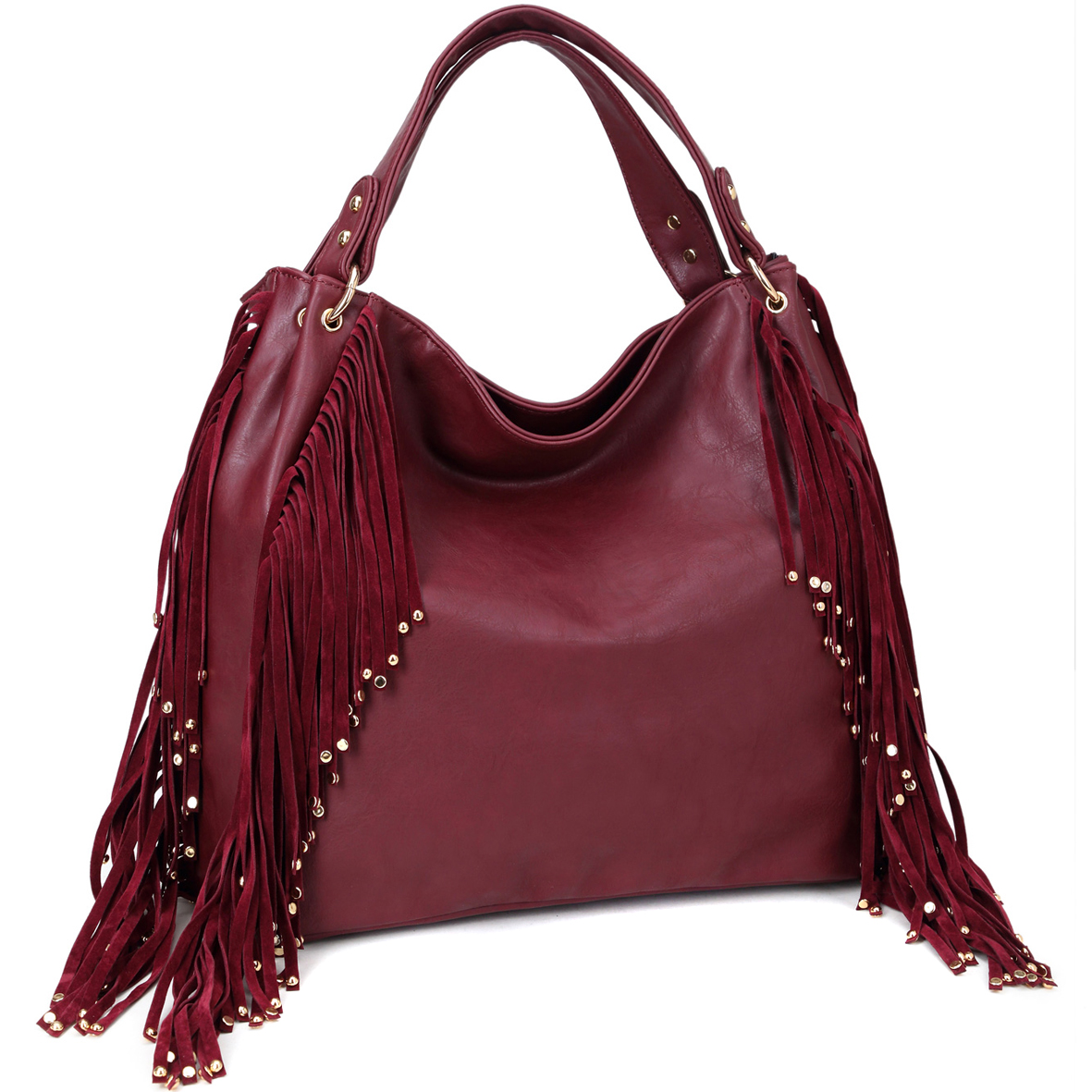 Dasein® Fringe Studded Faux Leather Hobo Bag
