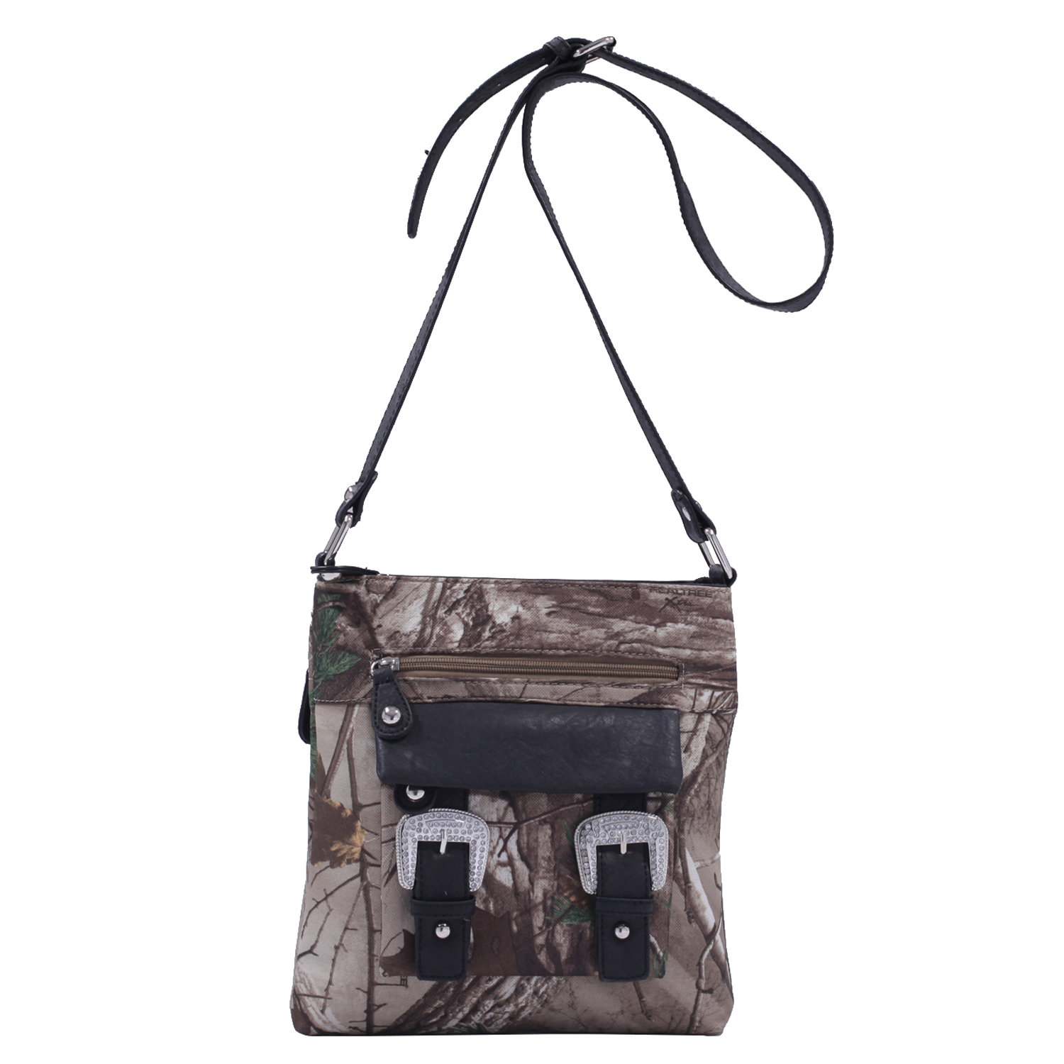 Realtree Concealed Carry Messenger Bag with Rhinestone Double Buckles