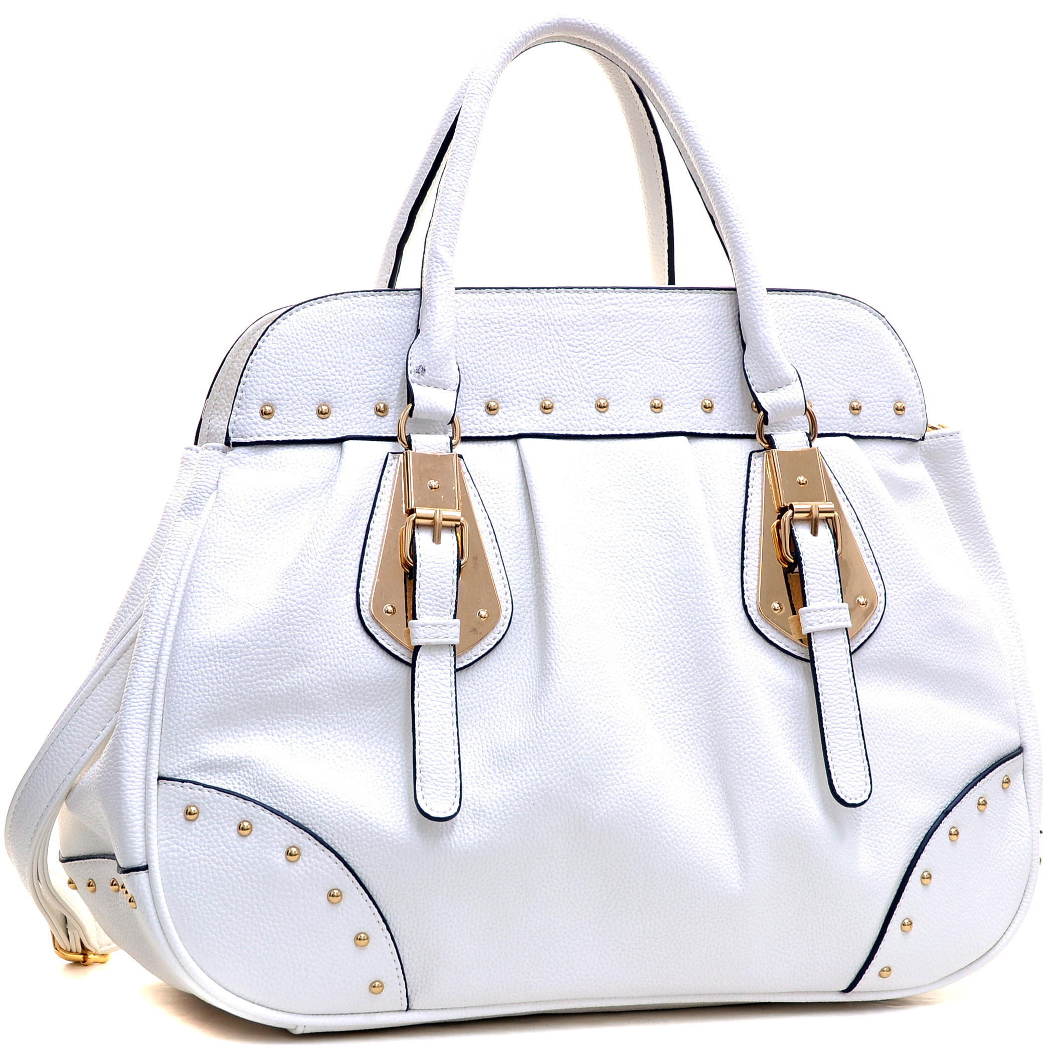 Dasein® Large Studded Faux Leather Satchel