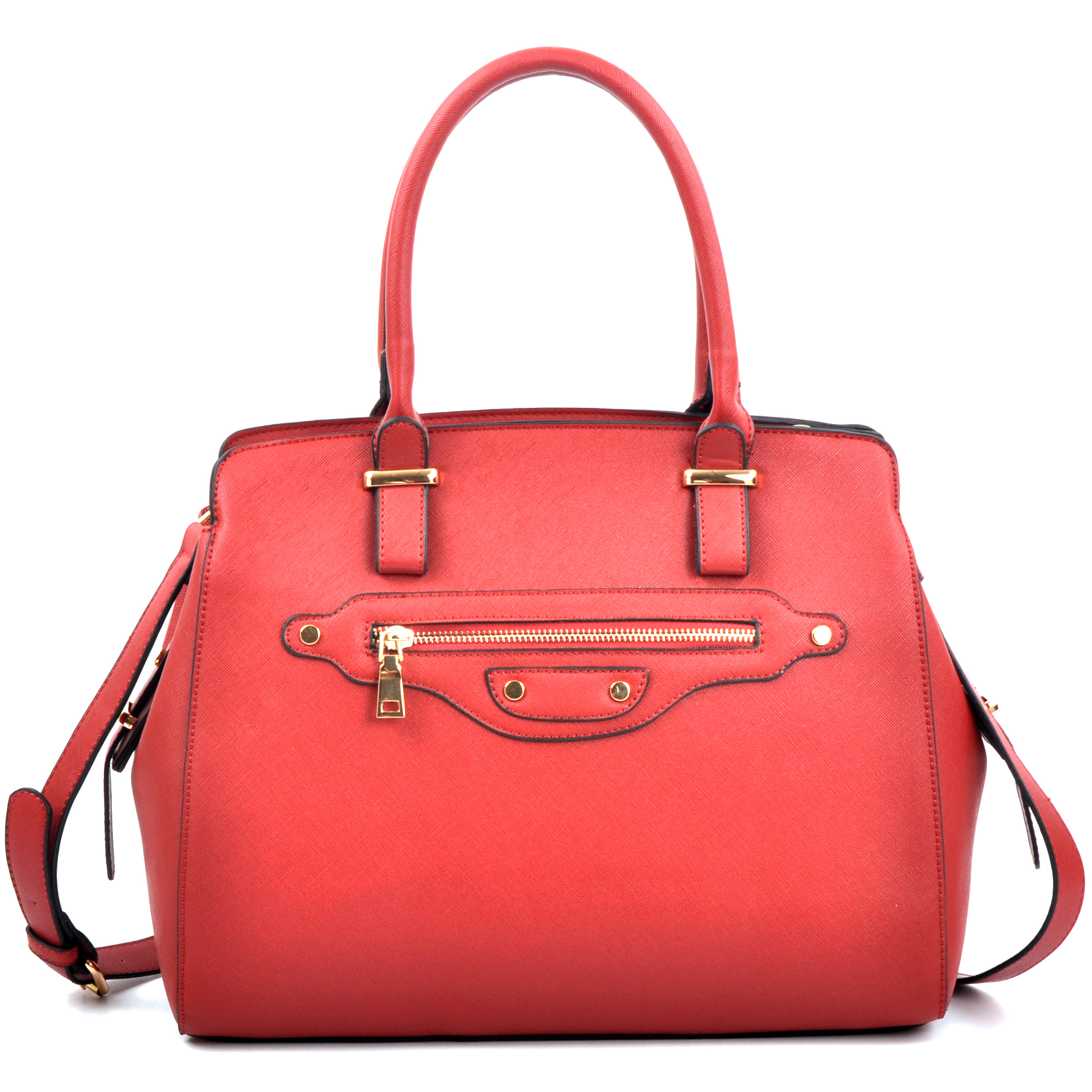 Saffiano Leather Medium Satchel with Shoulder Strap