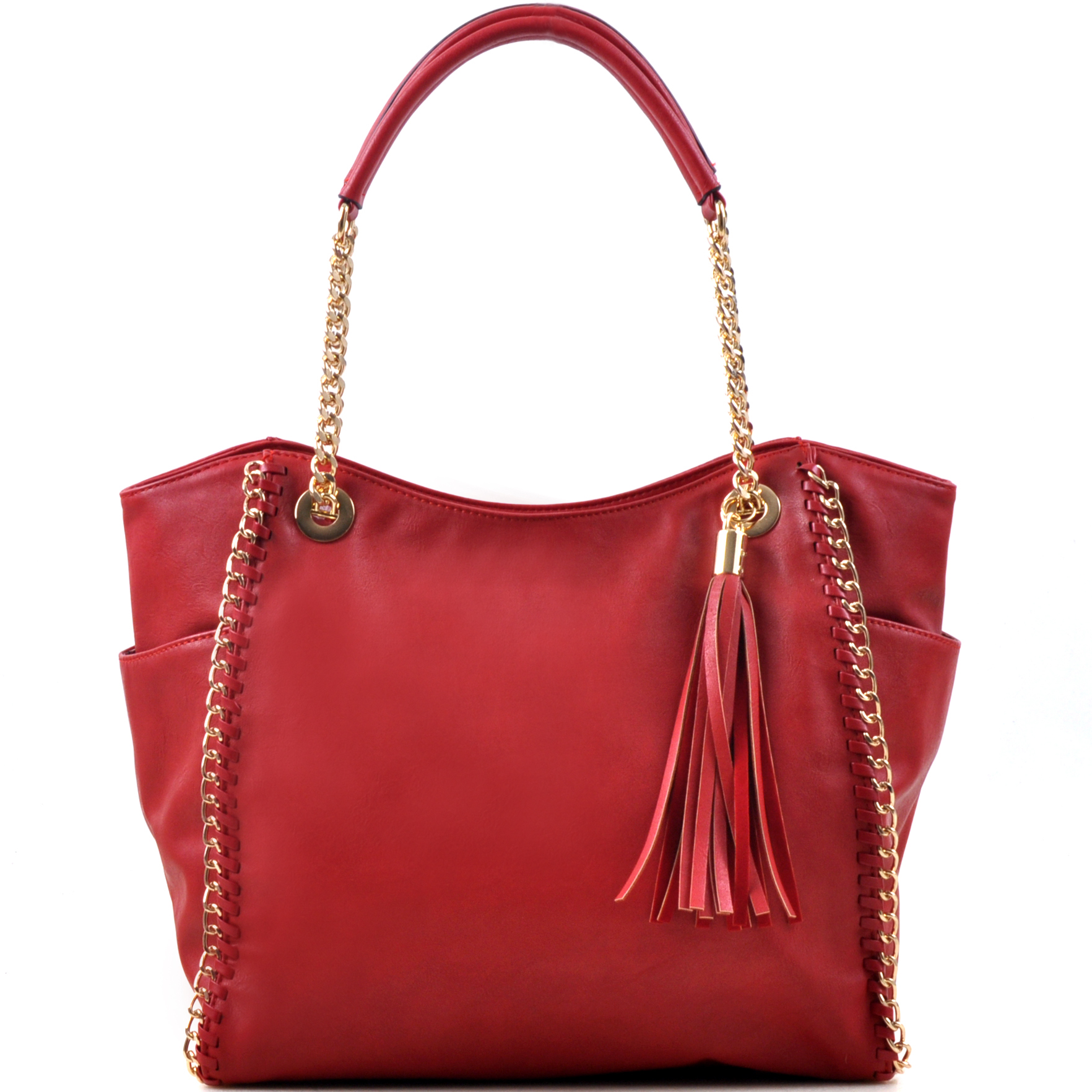 Faux Leather Chain Link Tote Bag