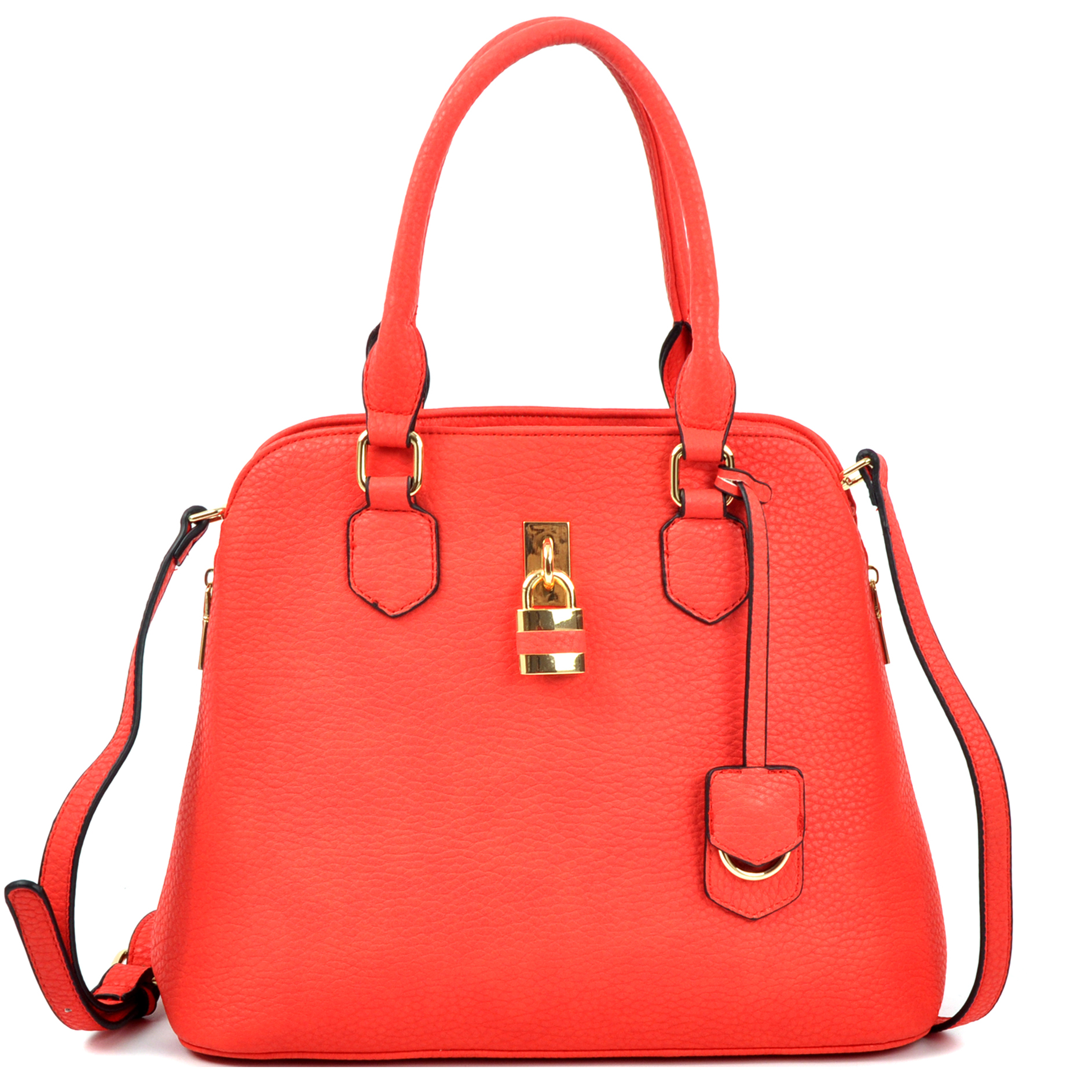 Round Padlock Zip Satchel with Shoulder Strap