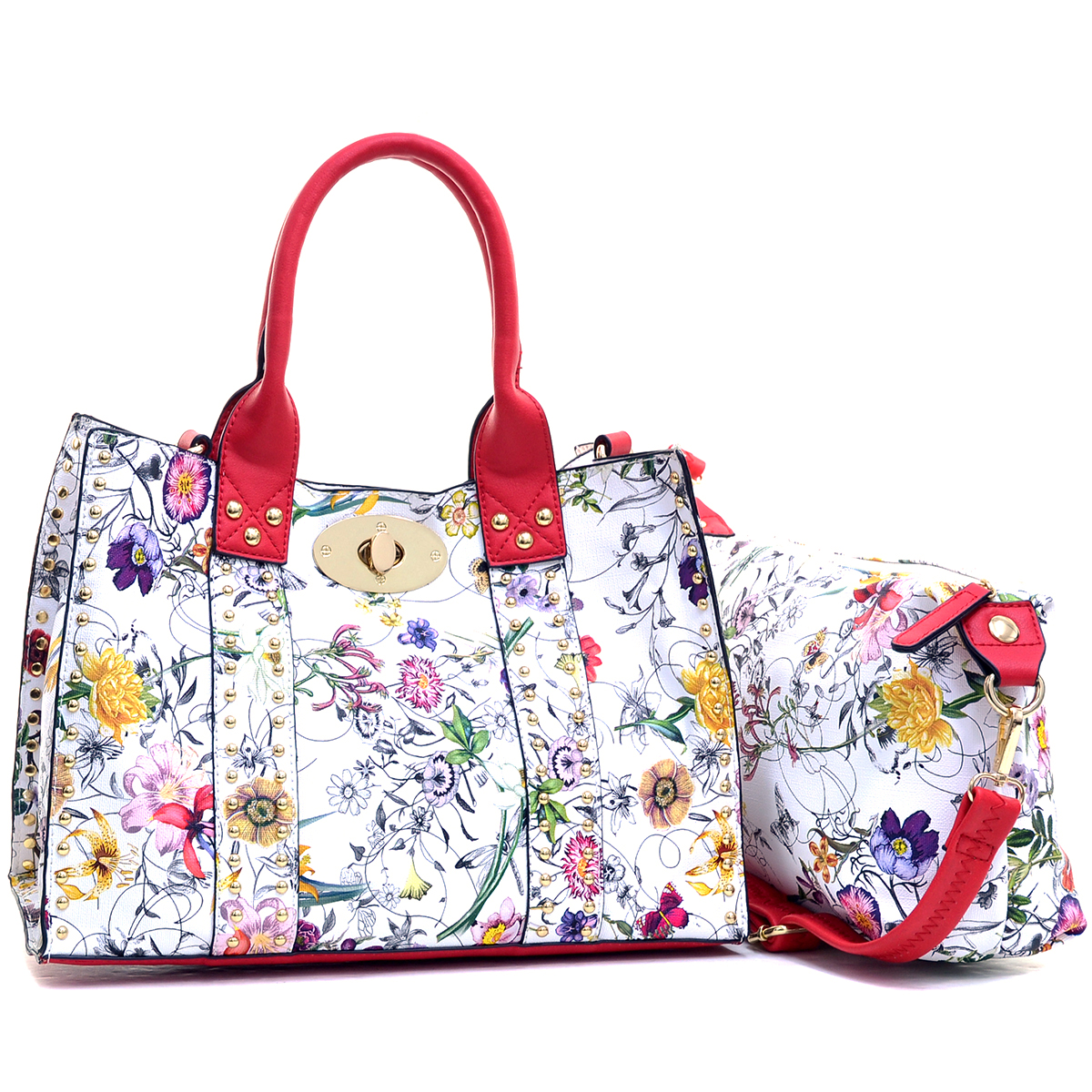Floral Print Faux Leather Studded 2-in-1 Tote Bag
