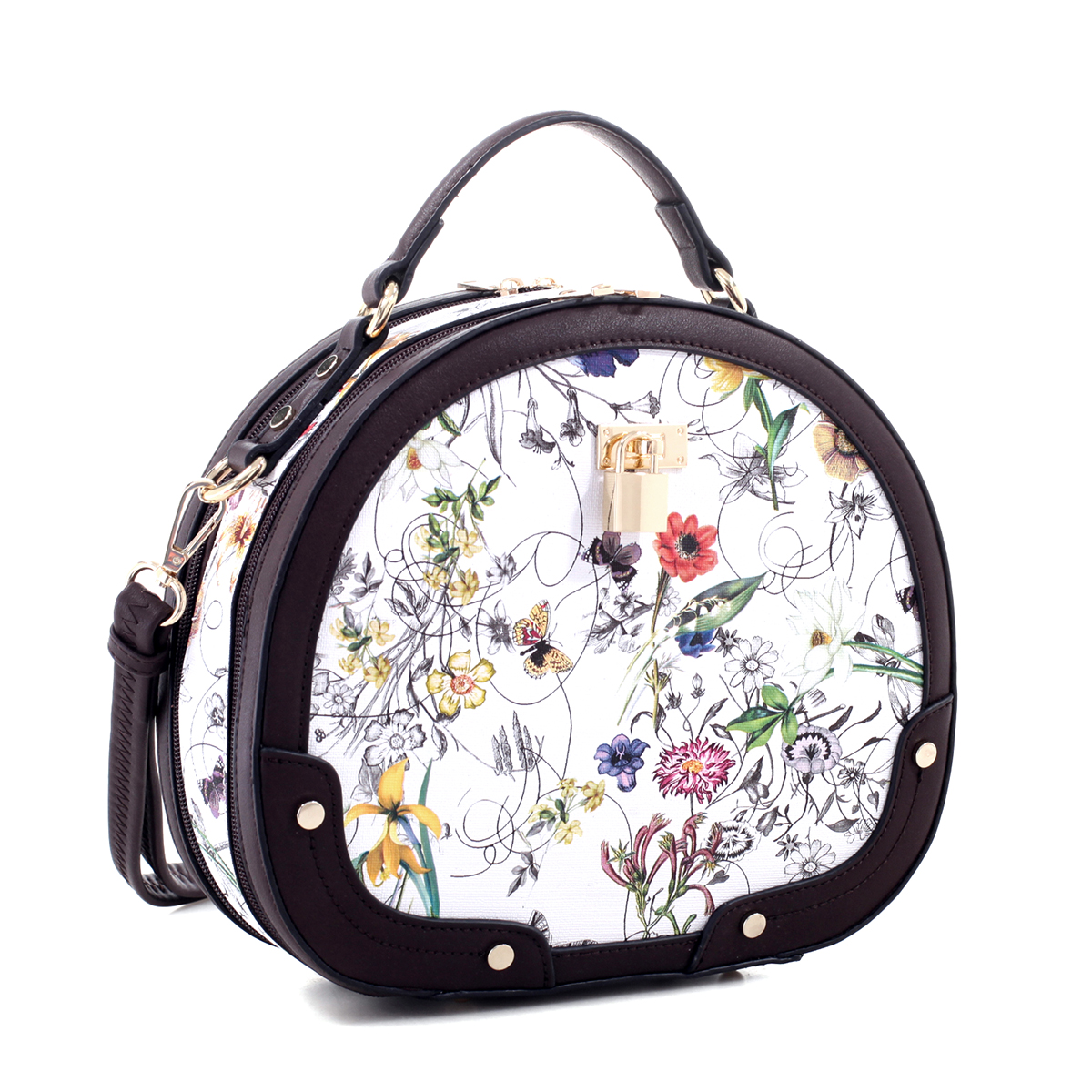 Floral Print Faux Leather Padlock Trunk Satchel