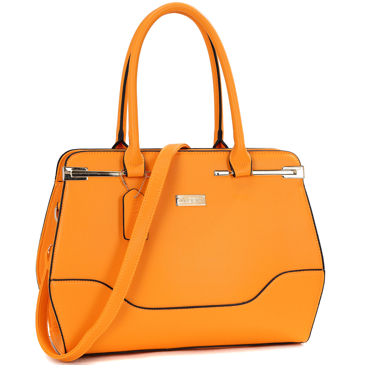 Fashion Faux Leather Gold-Tone Satchel