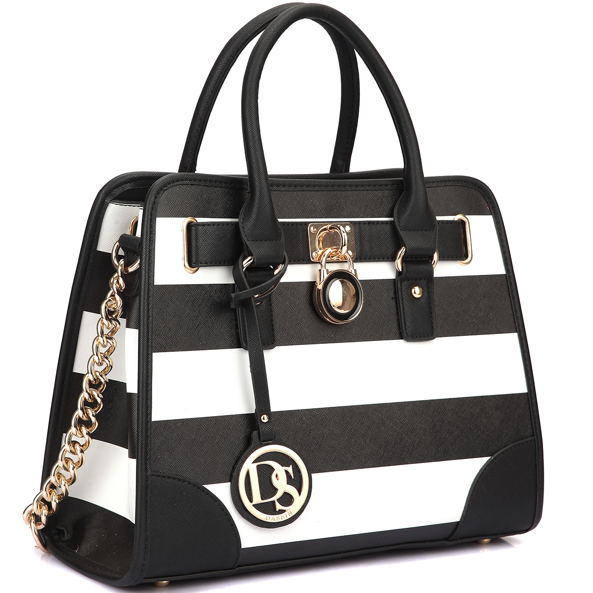 Stripe Medium Satchel with Shoulder Strap