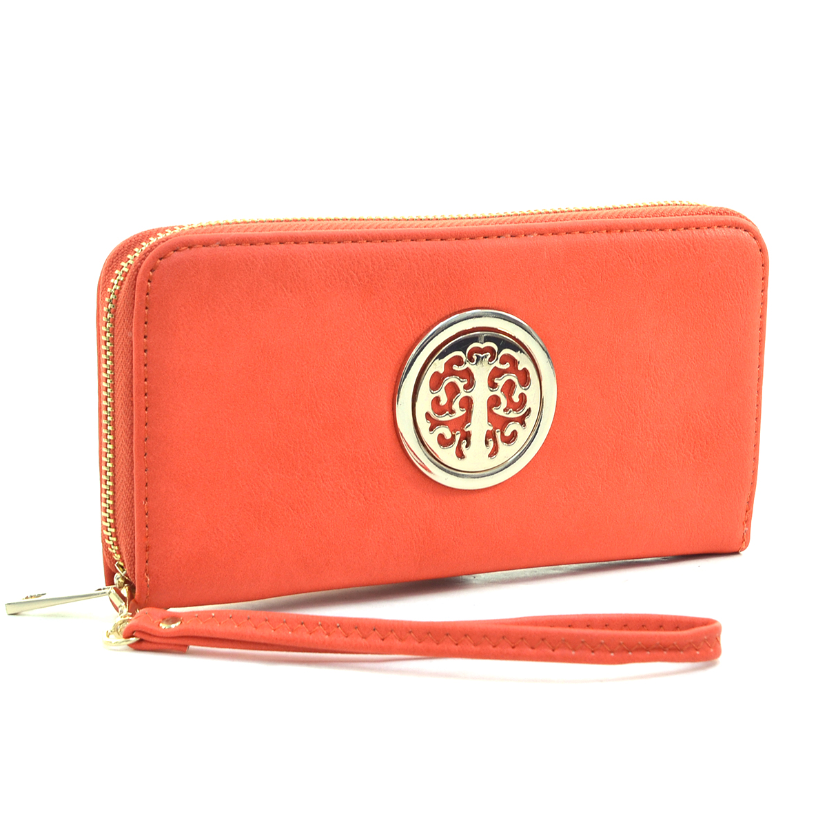 Emblem Embossed Zip Around Wallet