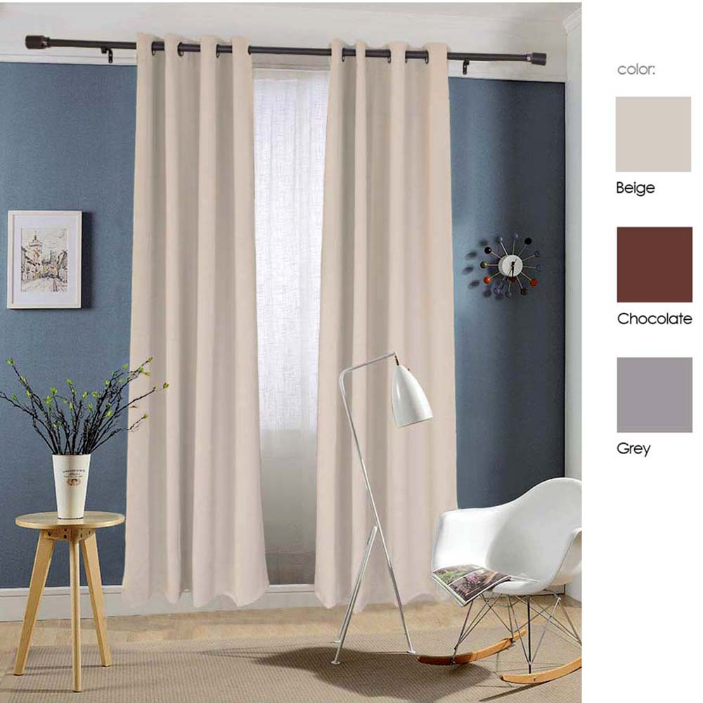 "Dasei  Microfiber Grommet Woven Blackout Curtain, Two Panels, 84""L x 52""W"