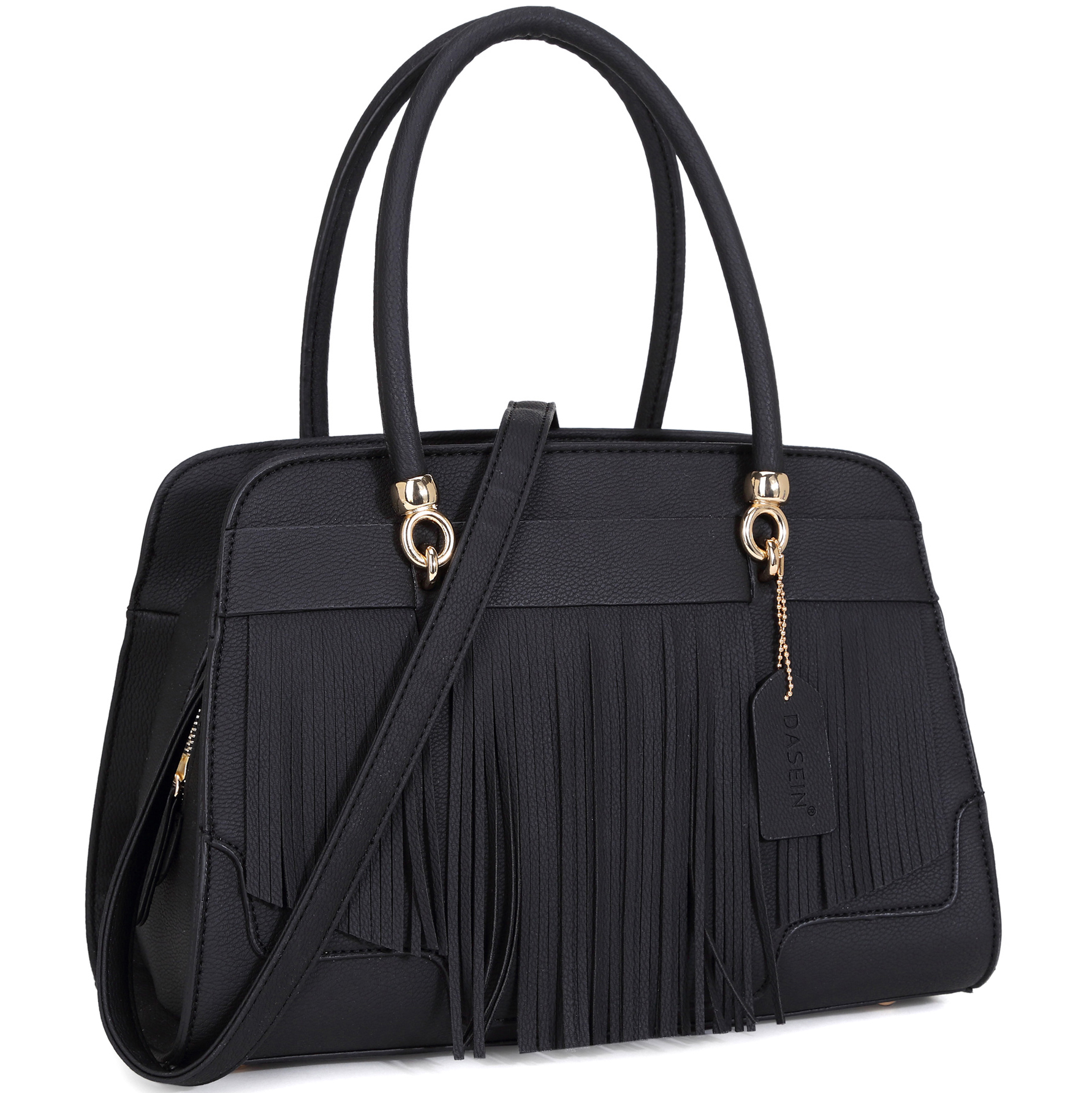 Dasein Fashion Fringe Gold-Tone Satchel