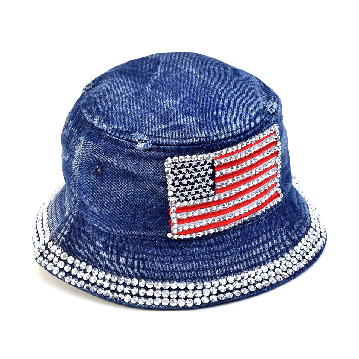 Dasein Rhinestone Flag Denim Bucket Hat