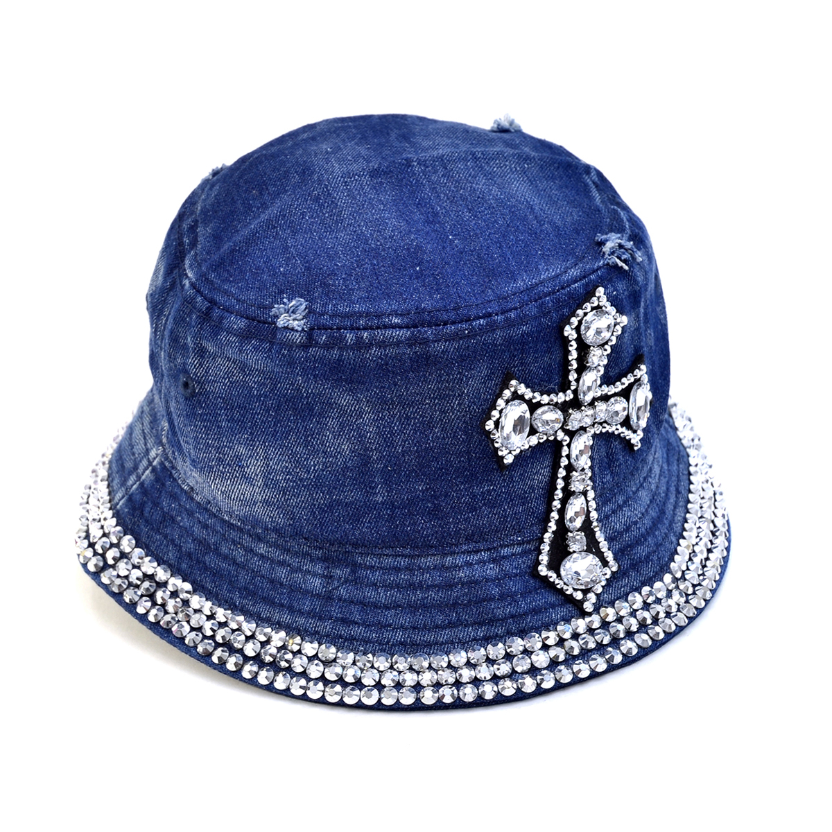 Dasein Rhinestone Cross Denim Bucket Hat