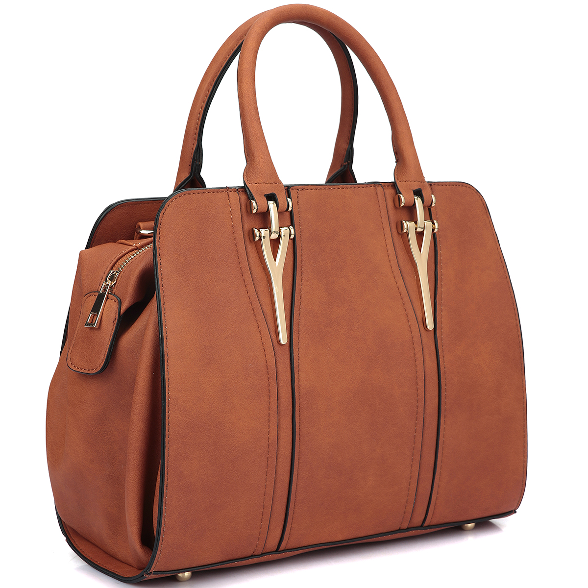 Dasein Faux Leather Medium Satchel Shoulder Bag