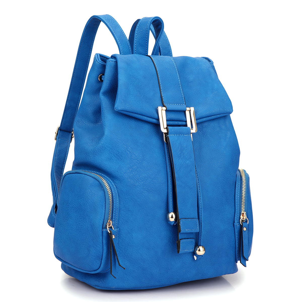 Faux Leather Drawsrting Accent Backpack with Side Pockets
