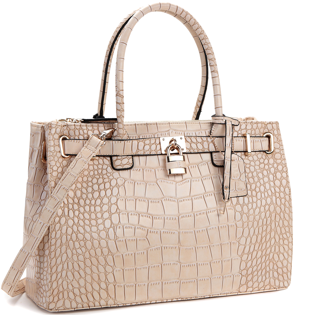 Dasein® Faux Croco Embossed Leather Padlock Handbag