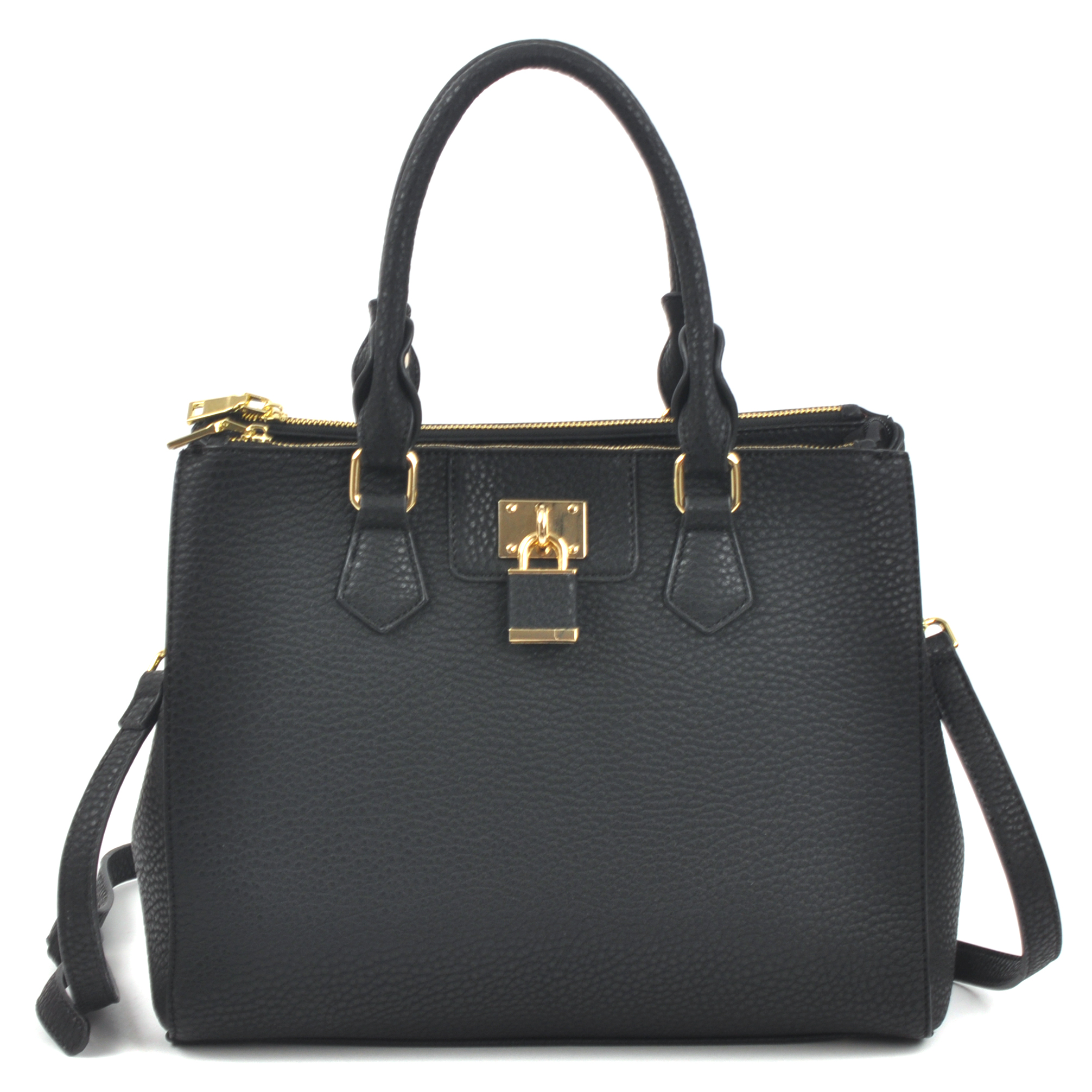 Dasein Padlock Double Zipper Satchel