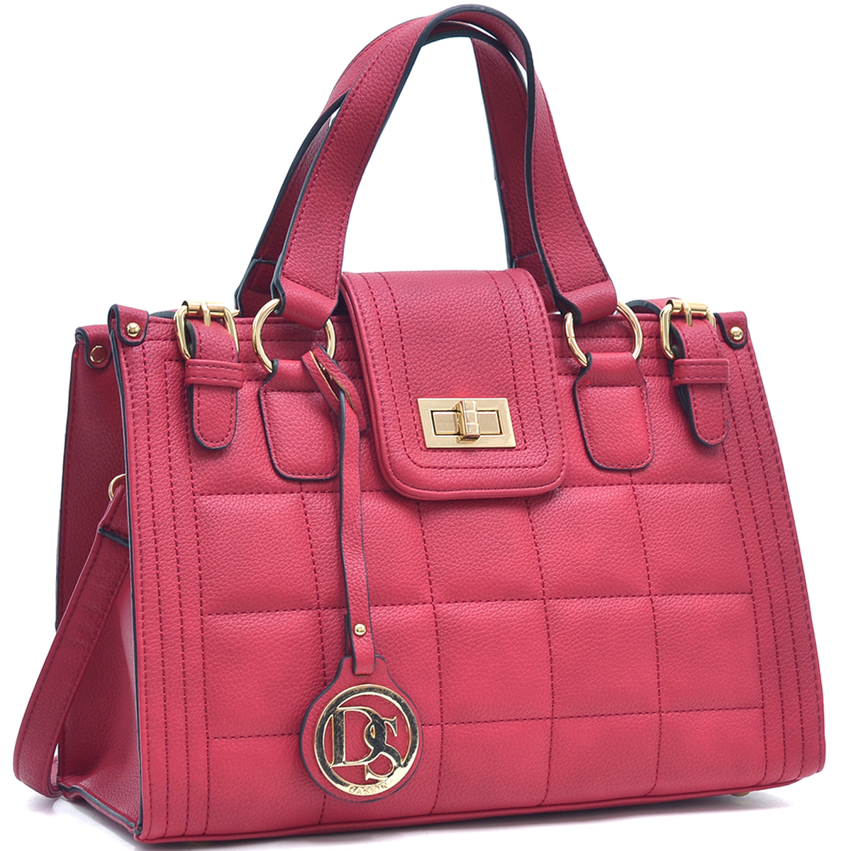 Quilted Satchel with Buckled Details