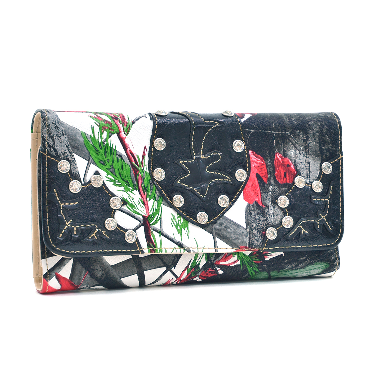 Faux Leather Tri-fold Wallet with Rhinestone
