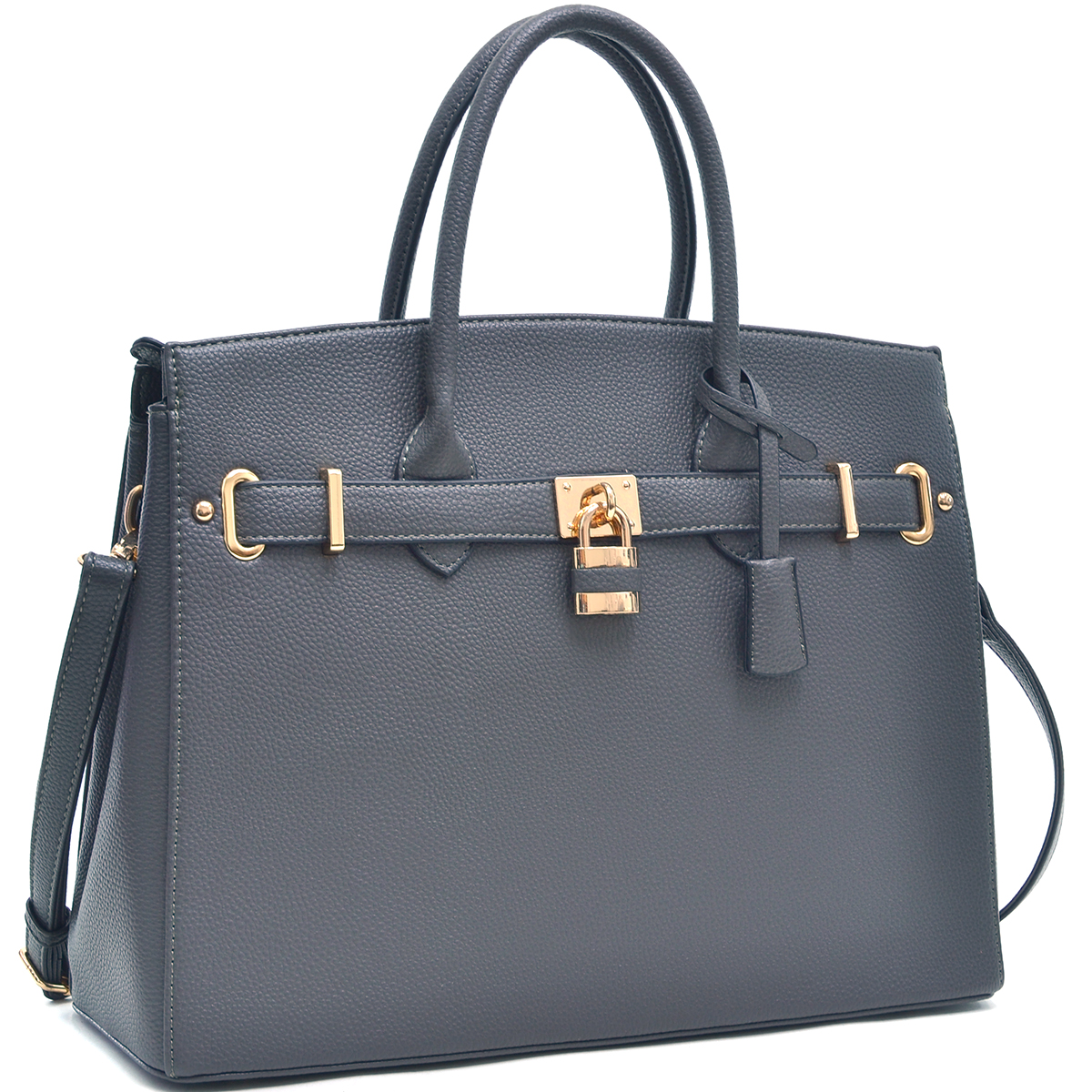 Dasein® Faux Leather Work Satchel with Padlock