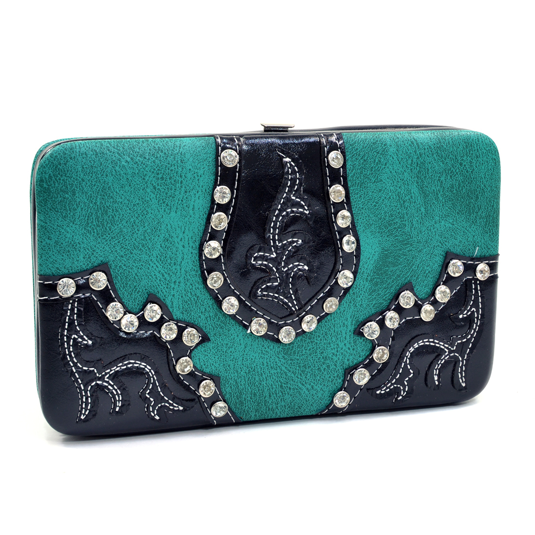 Rhinestone Studded Western Frame Wallet With Leaf Design