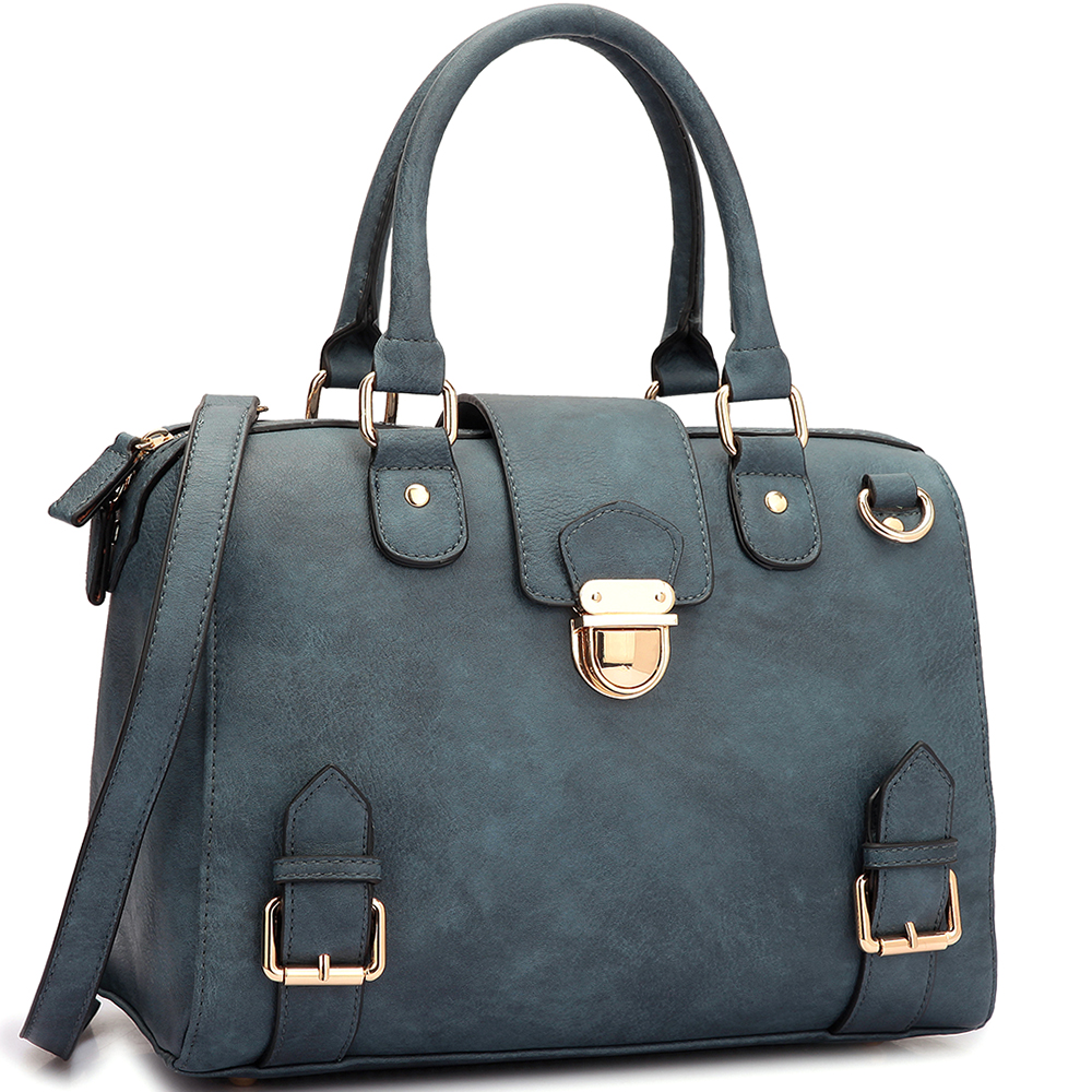 Structured Satchel with Zip Top Closure