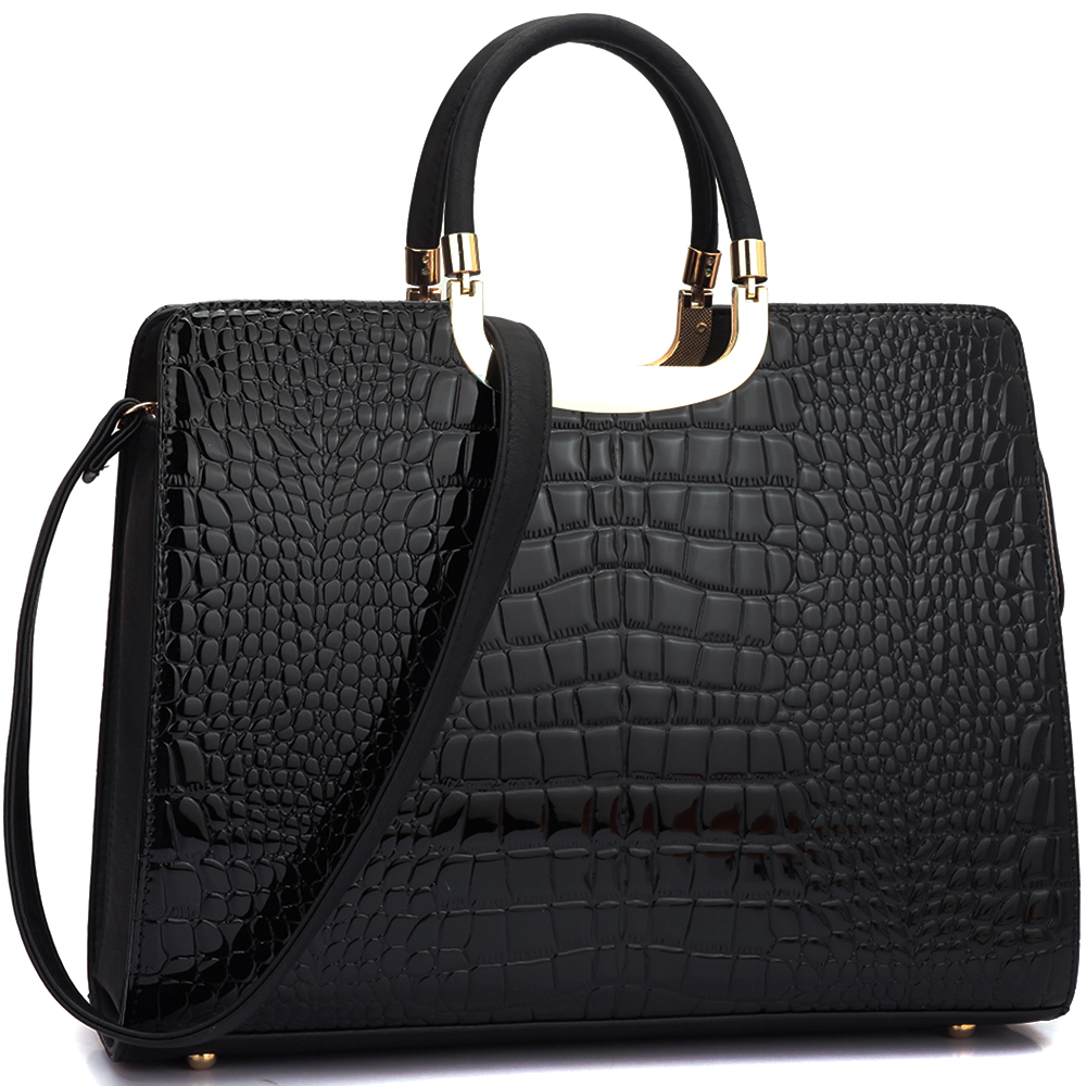 Patent Croco Briefcase w/ Bonus Shoulder Strap
