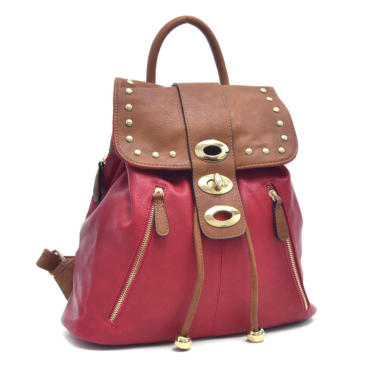 Two-Tone Studded Backpack with Drawstring