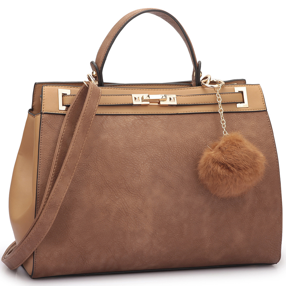 Dasein® Satchel with Padlock and Decorative PomPom
