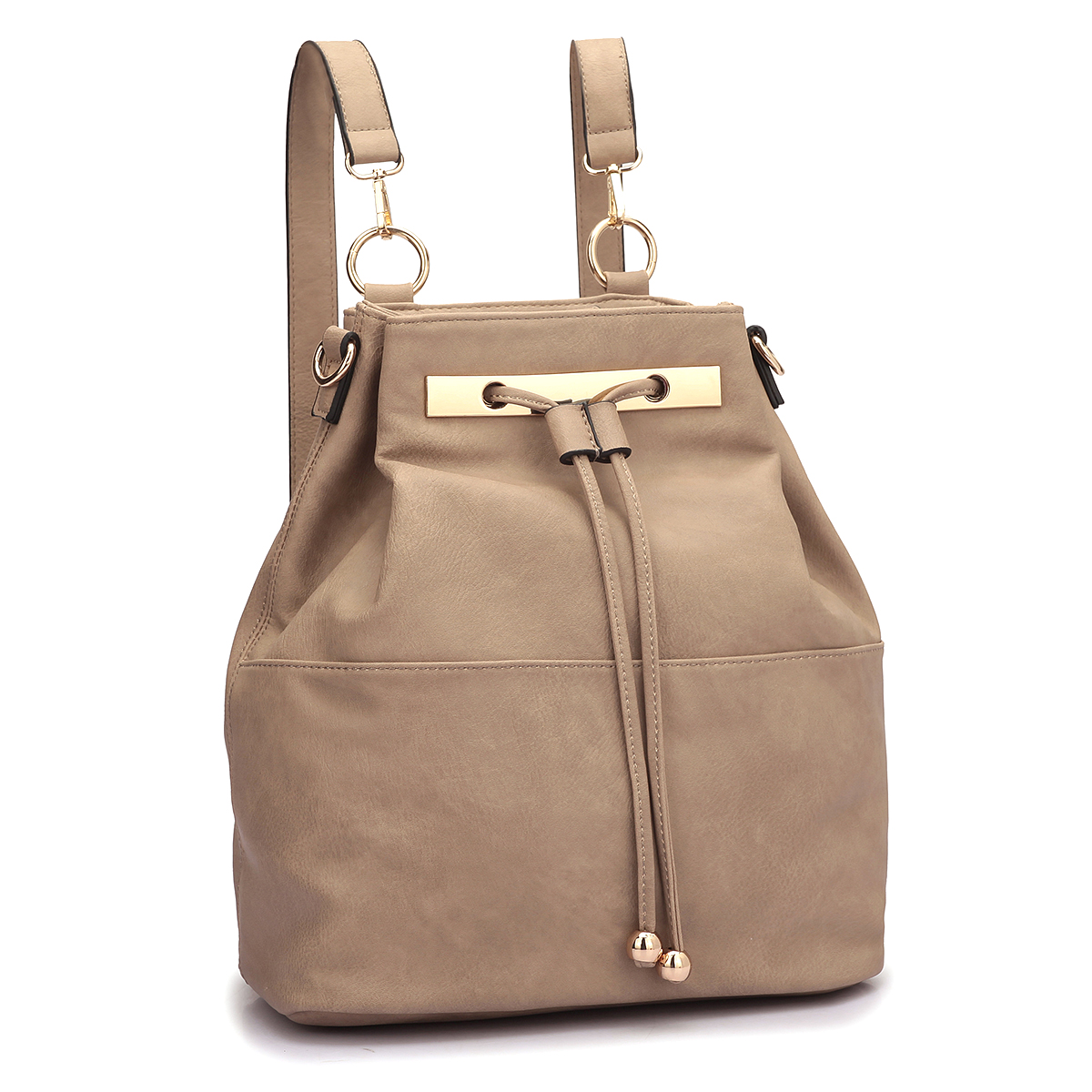 Faux Leather Convertible Drawstring Bucket Bag and Backpack