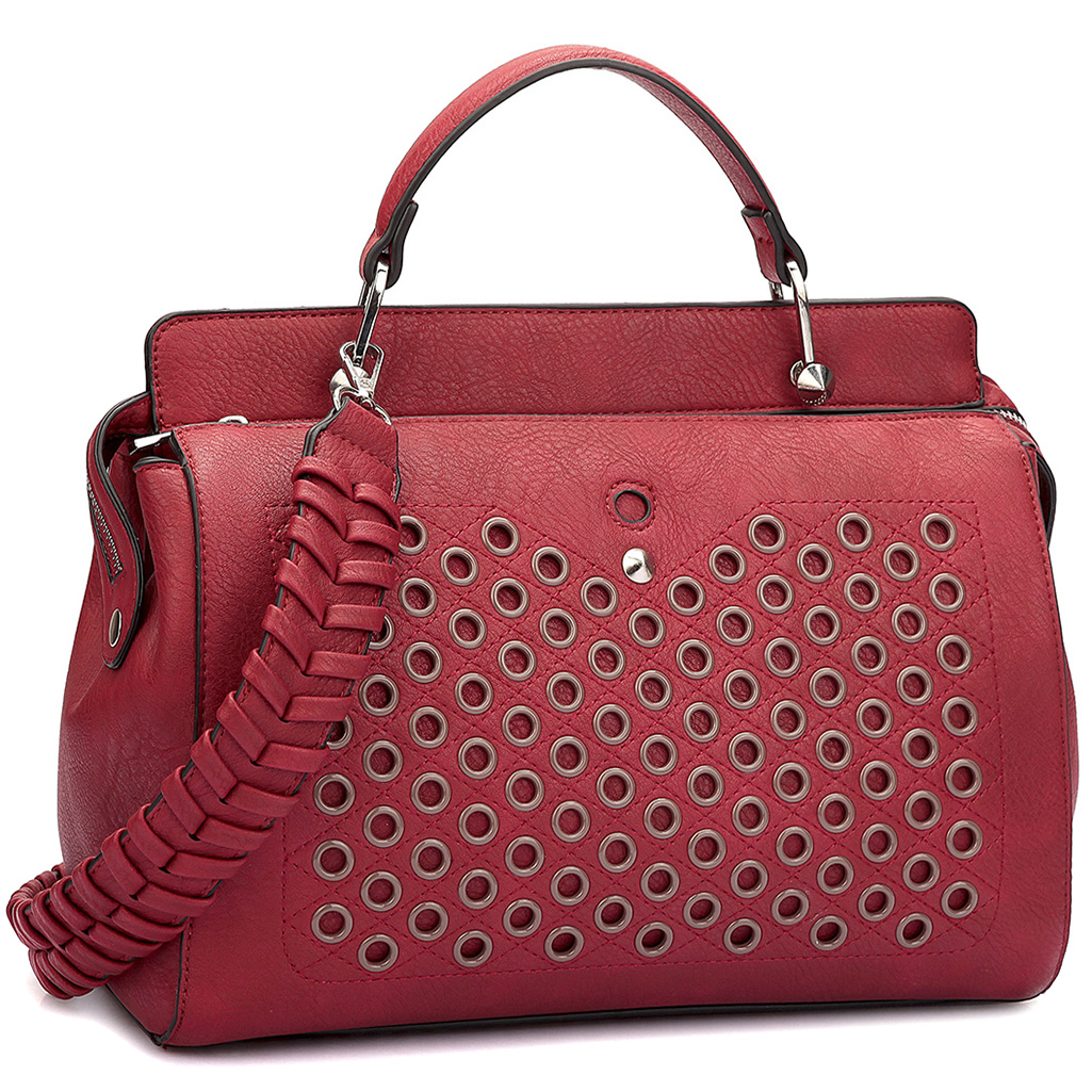 Faux Leather Handbag with Designer Holes and Weave shoulder strap