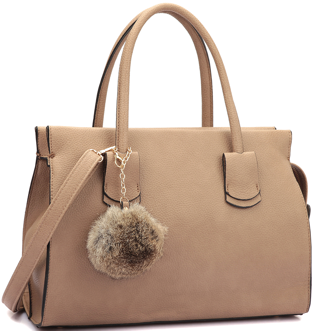 Dasein® Leather Handle Satchel with PomPom
