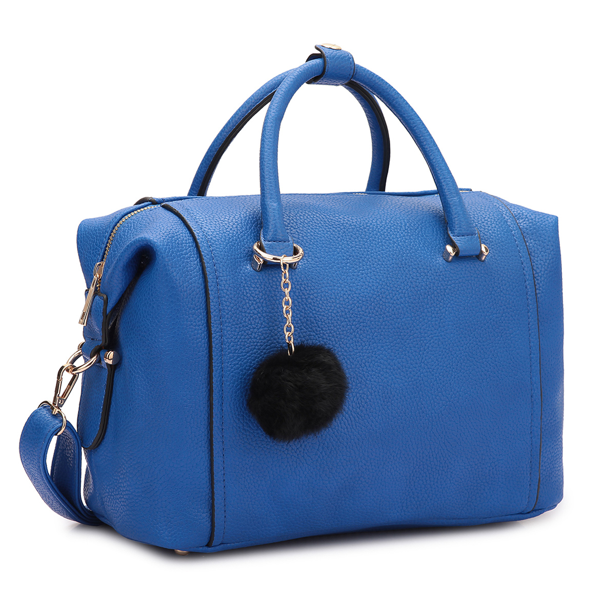 Dasein® Faux Leather Satchel with PomPom