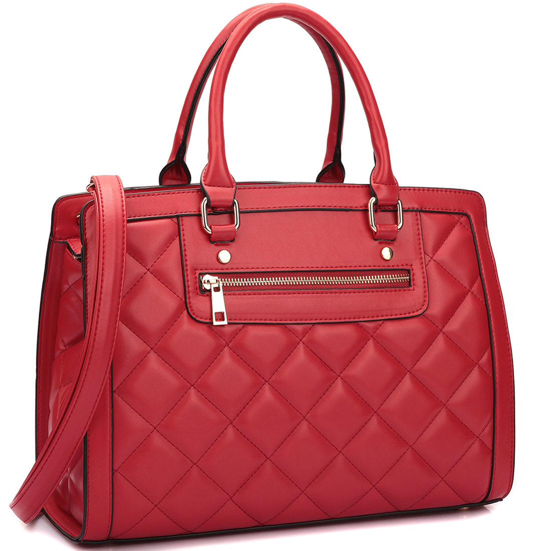 Dasein Quilted Satchel Shoulder Bag with Front Zipper