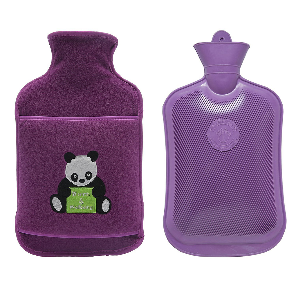 2 Liter Premium Classic Rubber Hot Water Bottle with Cute Soft Fleece Knit Cover